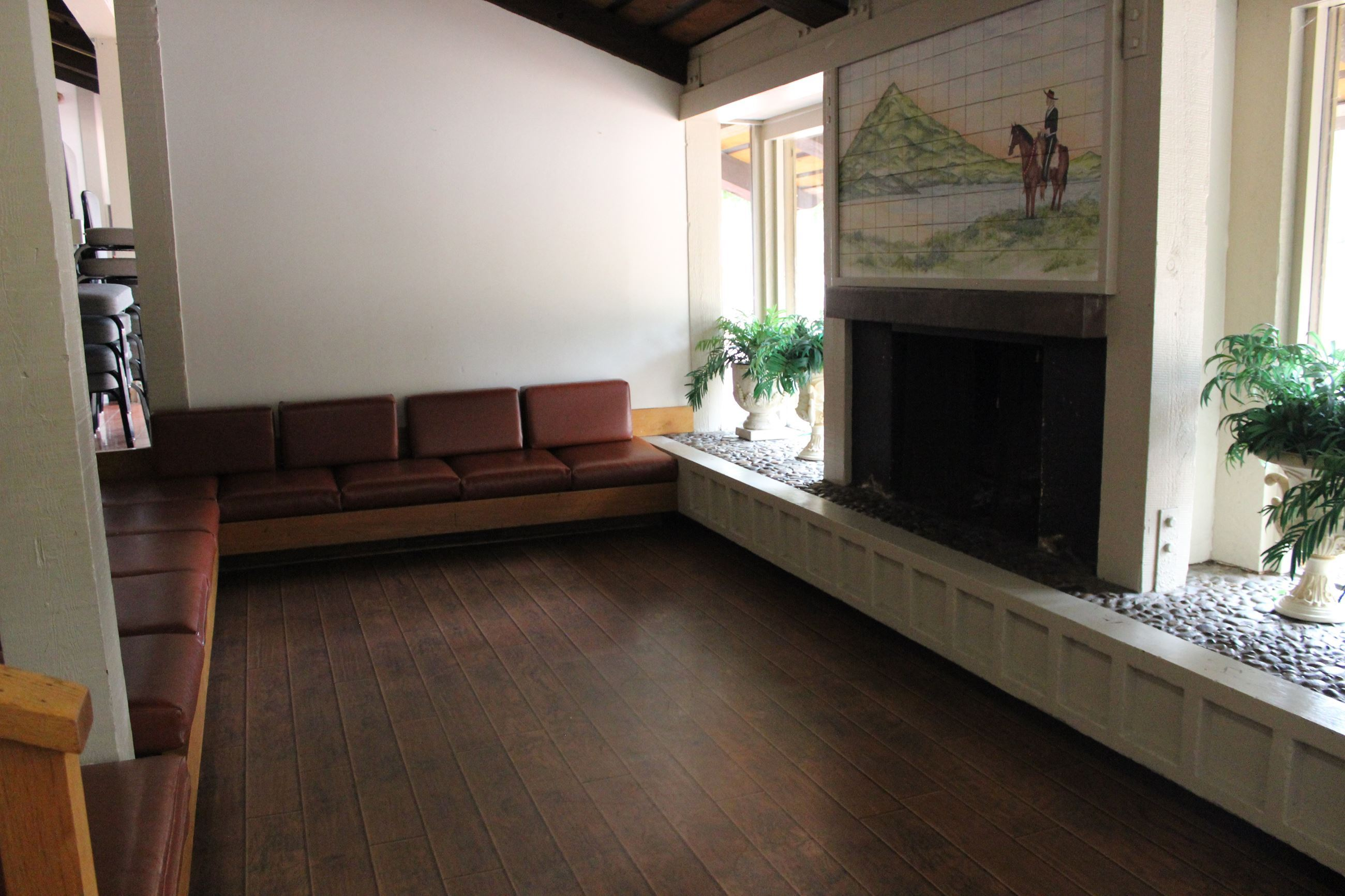 Fireplace Seating Area in Maple Hall