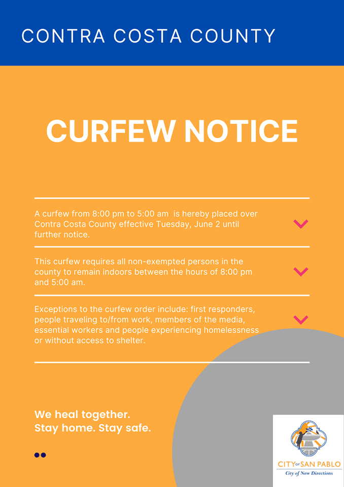 Curfew Order Issued by County on June 2, 2020