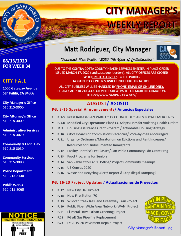 City Manager Report - Week 34 August 13