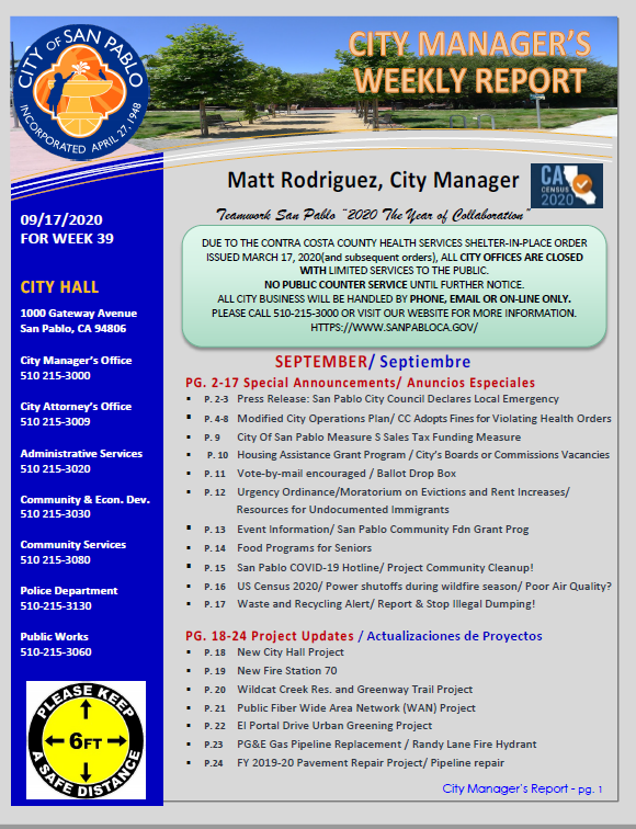 City Manager Report - Week 39 September 17