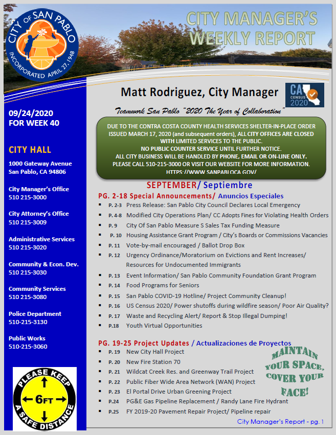 City Manager Report - Week 40 September 24