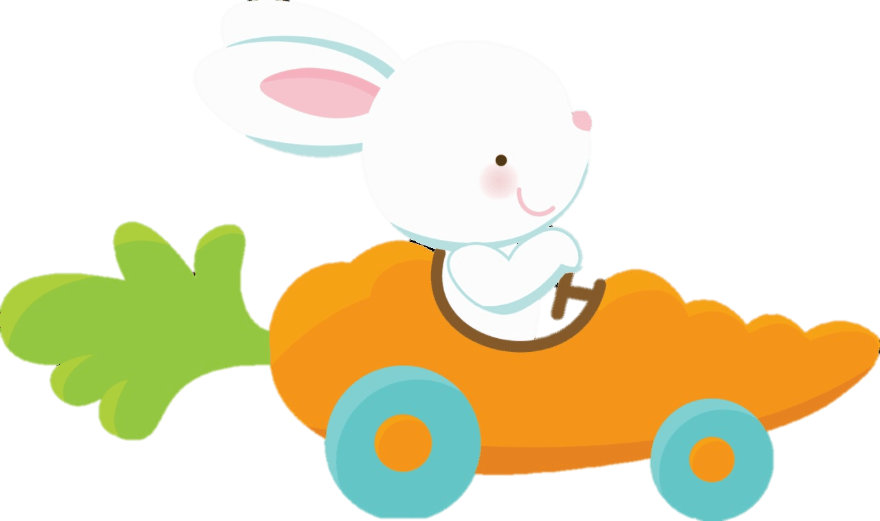Cartoon Bunny driving carrot car