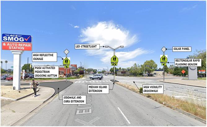 Example of intersection with RRFB and raised median island
