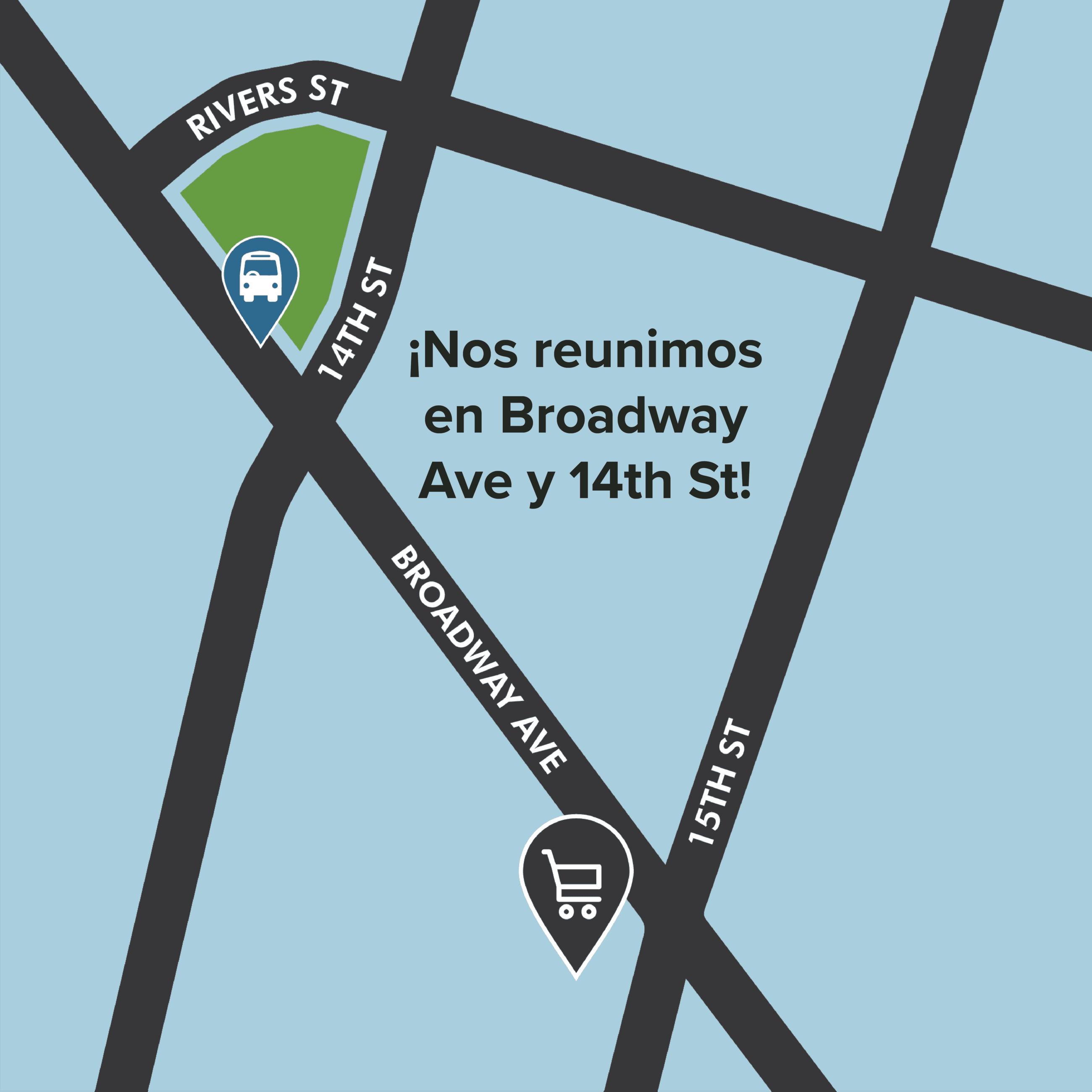 """Mapa del sitio de la demostración """"Nos reunimos en Broadway Ave y 14th St!"""
