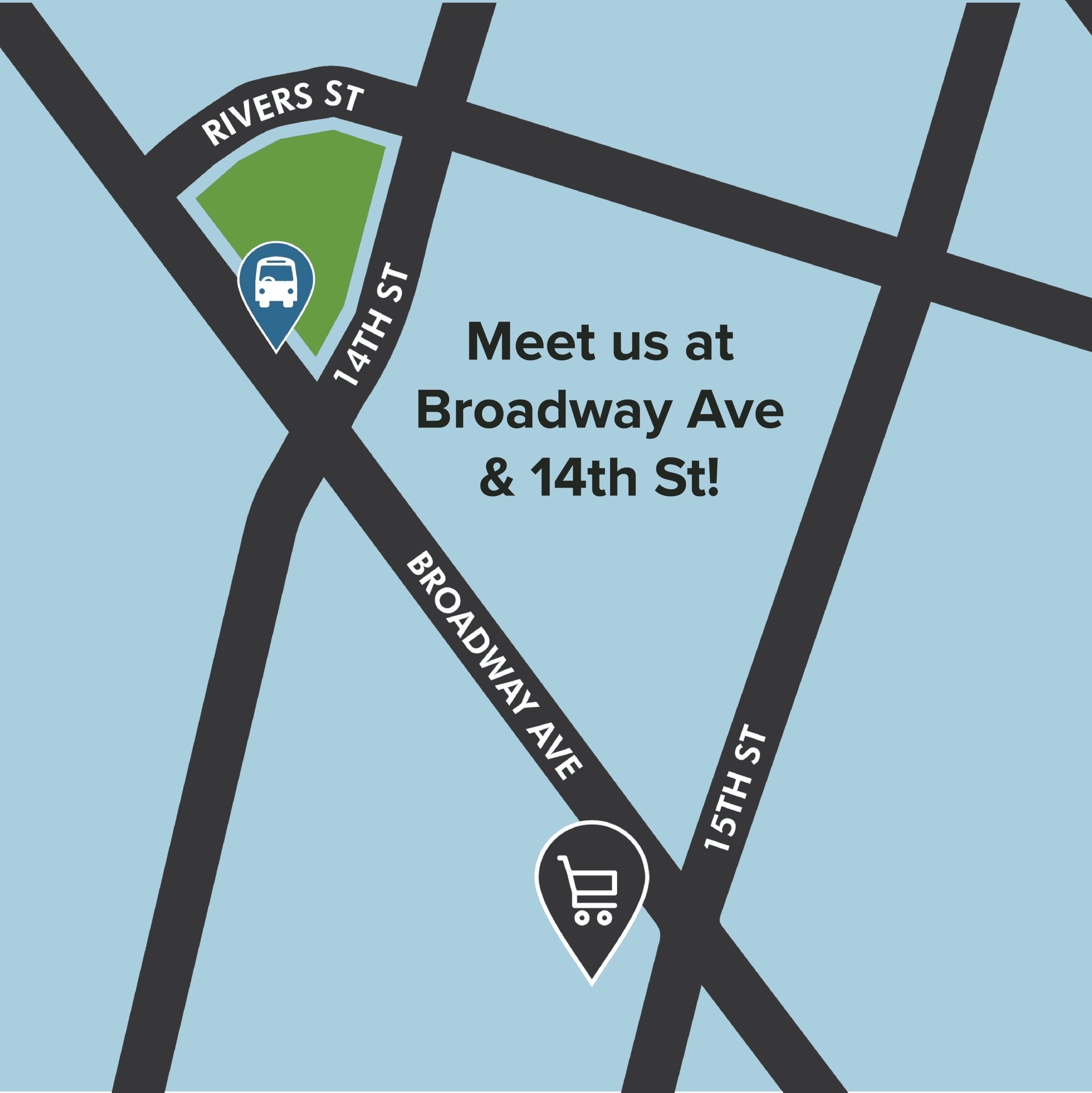 Demonstration map: Meet us at Broadway Ave & 14th St!