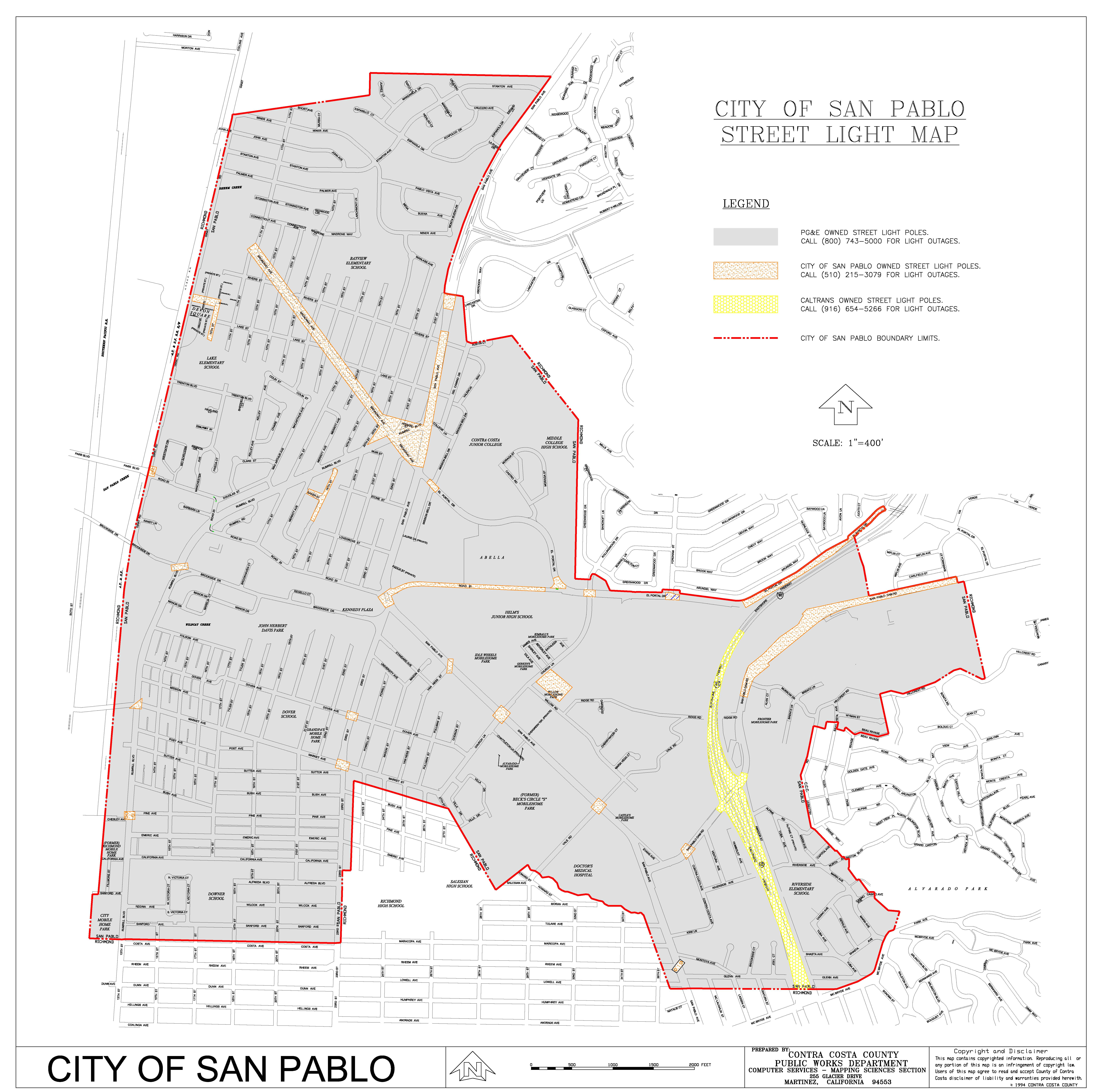 City of San Pablo Street Light Map